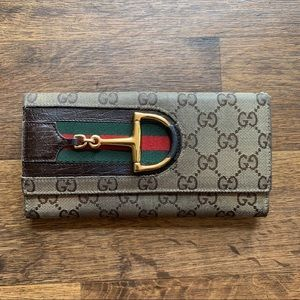"Gucci Long Leather & Canvas Monogram ""GG"" Wallet"